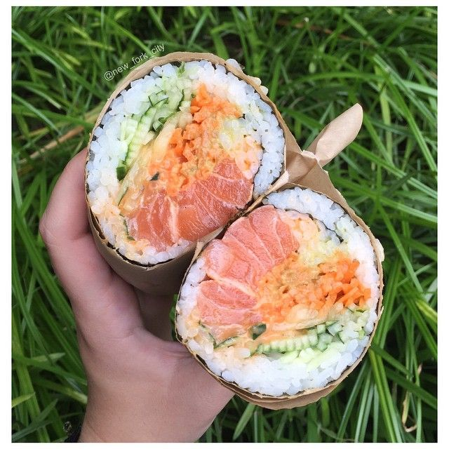 Getaway: Philadelphia  The sushi burrito with salmon, cucumber, carrots, spicy mayo, and wasabi guacamole #newforkcity