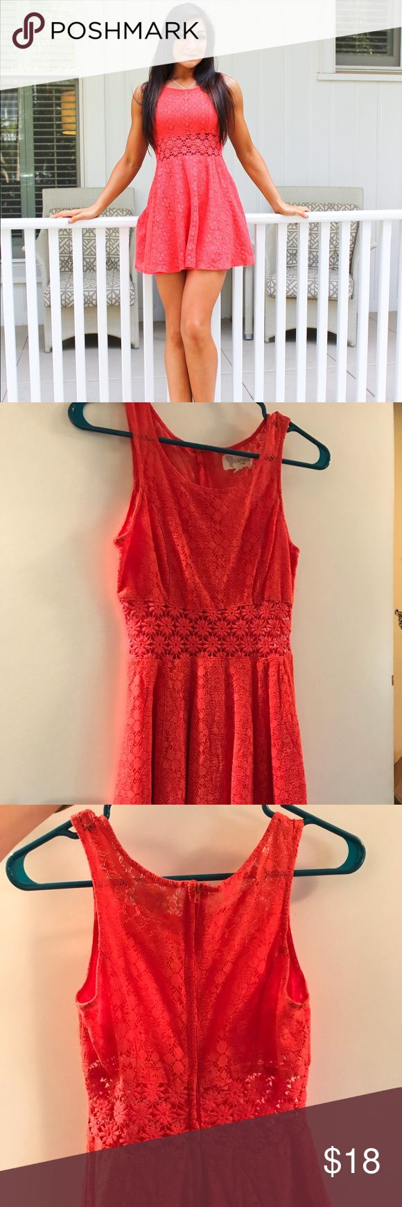 Coral Sundress L'ATISTE by Amy Gorgeous coral sundress I bought from Nordstrom. Wore only a few times. In like new condition. Allover lace pattern - the waistband has no underlay so it's just lace over skin. Dresses Mini