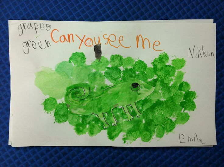 Ms. Solano's Kindergarten Class.  Talking about camouflage using A Color of His Own