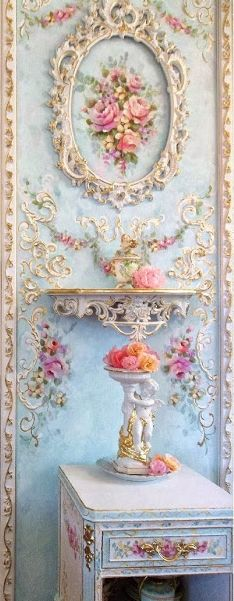 The rich side of Shabby & Chic Jonny Petros Artist Decorator Rococo Blue White Rose French