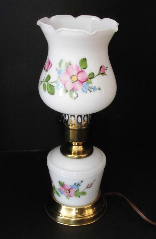 Vintage Hurricane Lamp Floral Handpainted Table Lamp Small Size