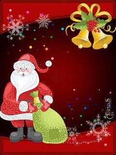 Санта Клаус с подарками (и рождественские колокольчики) - анимация на телефон №1097713