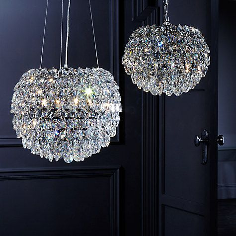 Master Bedroom chandeliers. Not quite the same droplets as being used in bathroom but far enough away to work I think. £290 each from John Lewis. 28(h)x39(w). Drop up to 85cm with chain