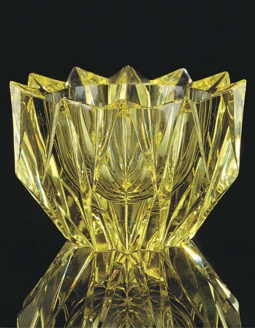 Aimo Okkolin; Facet-Cut Glass Bowl for Riihimaki Lasi Oy, c1960.