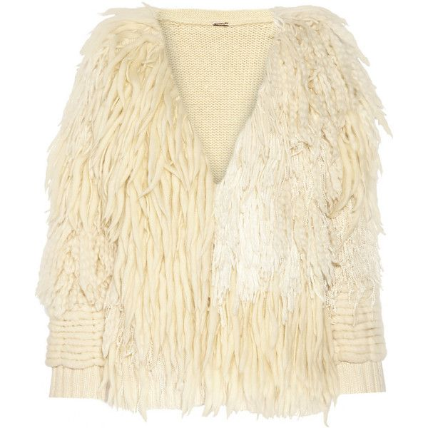Adam Lippes Fringed wool and cashmere-blend cardigan ($3,280) ❤ liked on Polyvore featuring tops, cardigans, jackets, white, white wool cardigan, adam, white cardigan, white tops and white fringe cardigan