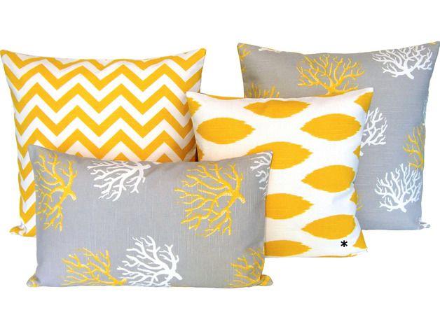 Kissen - 1 Kissenhülle Chipper gelb-weiß 40 x 40 - ein Designerstück von schoene-kissen-design bei DaWanda
