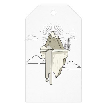 Mountain retro gift tags - home gifts ideas decor special unique custom individual customized individualized