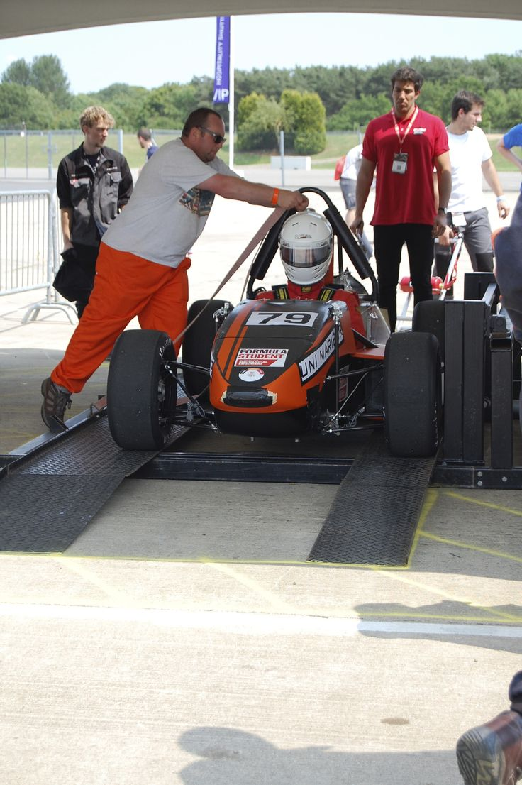 Getting ready for the tilt test at Formula Student