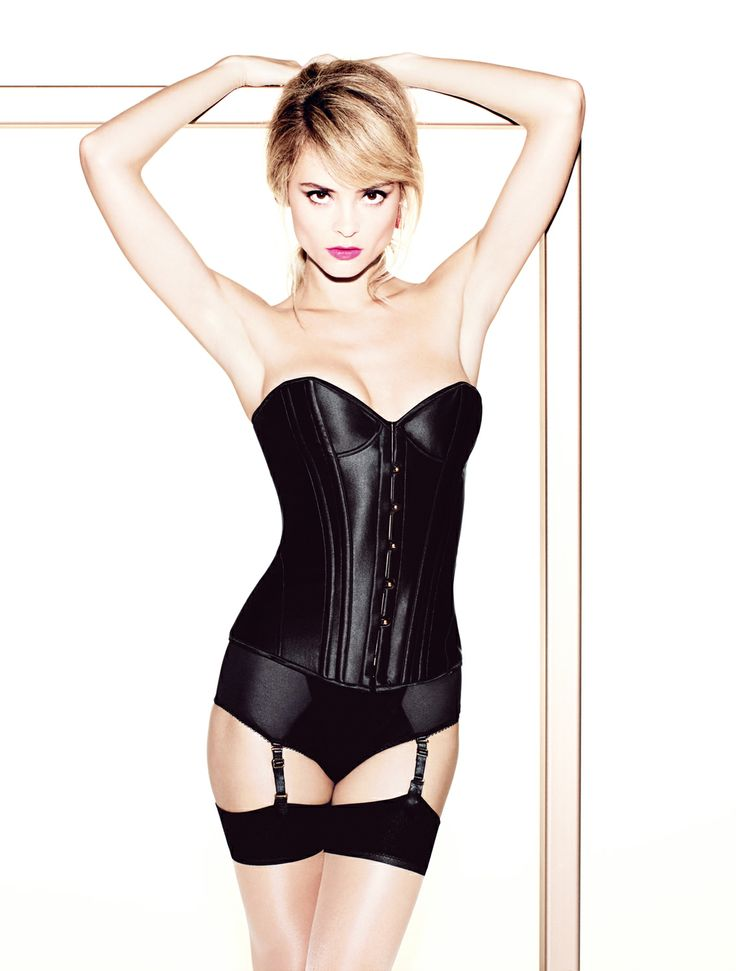 The Penelope corset is made from boned satin, and is a real curve enhancer. Wear with the matching suspender briefs to complete your look