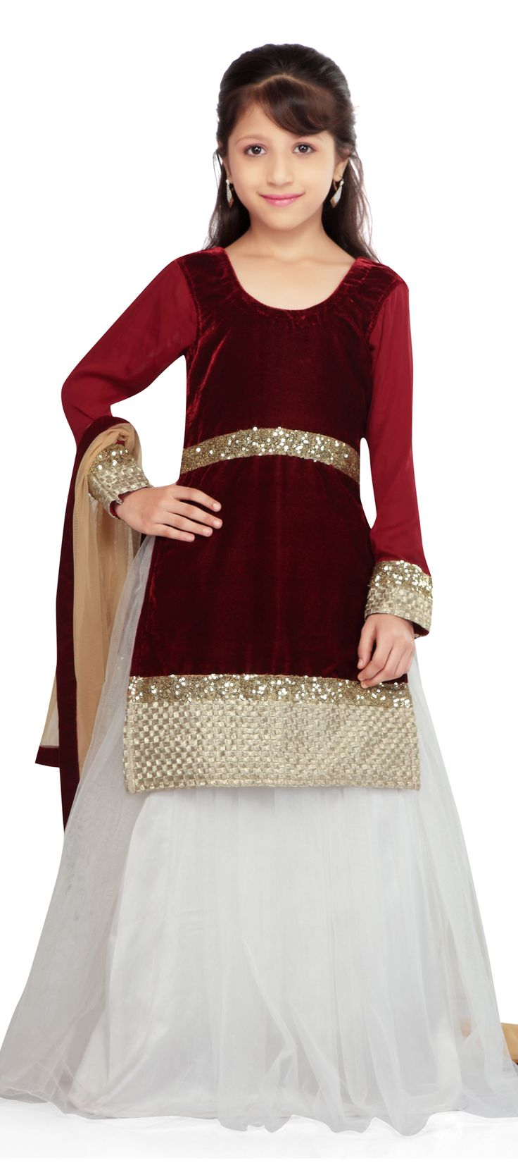 200566: Red and Maroon color family Kids Lehenga.