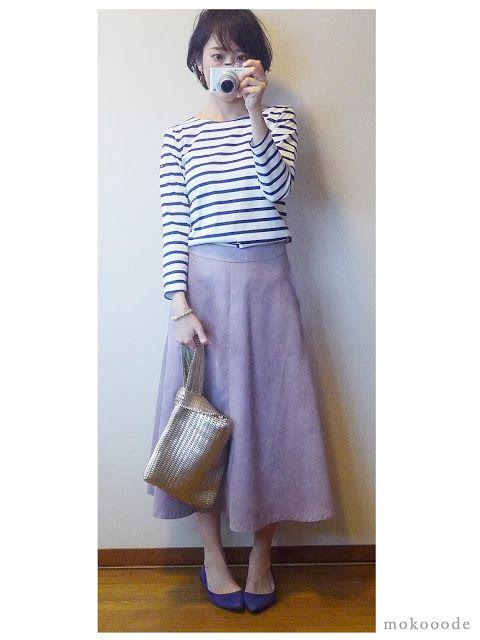 モコーデ: ルミノアボーダーとパープルスカートのさわかやガーリーコーデでミーとお花見 3月25日