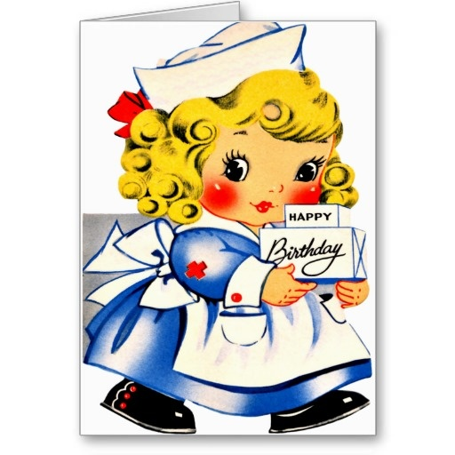 "Little Girl Nurse - Retro Happy Birthday Cards ... Easy to use ""personalize it"" text box for personal birthday messages."