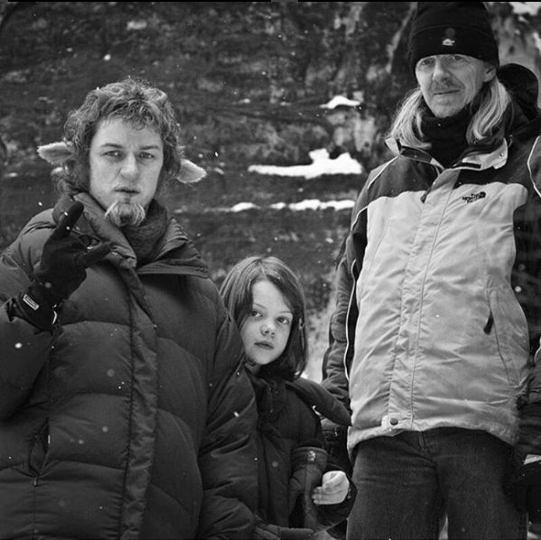 "James McAvoy, Georgie Henley and Andrew Adamson on the set of ""The Chronicles of Narnia: The Lion, The Witch and The Wardrobe"""