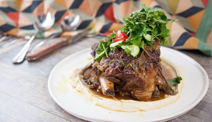 Lamb Shoulder, Hummus, Herbs and Pomegranate Glaze | Good Chef Bad Chef