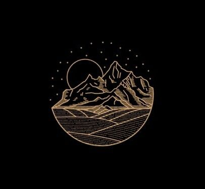 black, gold, and mountains image
