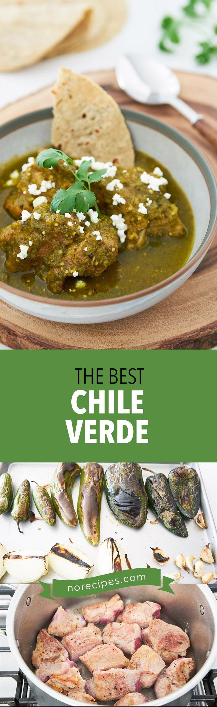The best Chile Verde recipe with fall-apart tender pork braised in a smokey savory green chili sauce.