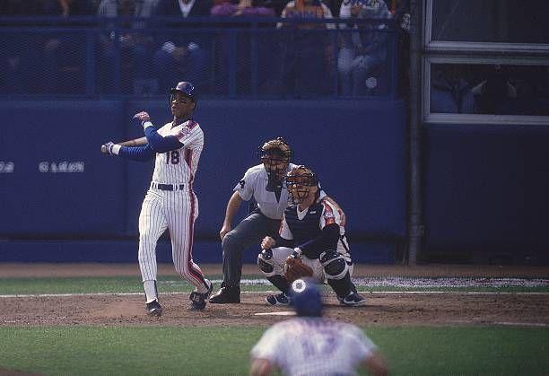 Baseball NL playoffs New York Mets Darryl Strawberry in action hitting HR vs Houston Astros Flushing NY