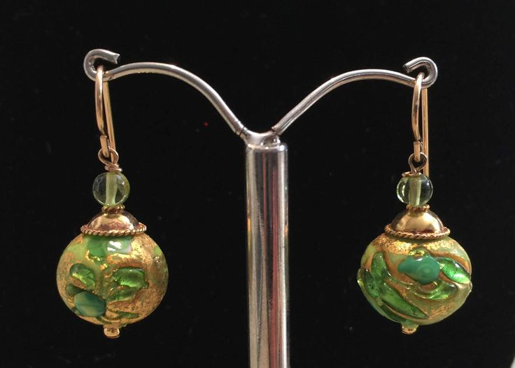 Murano Glass earrings with Green Fern pattern by MuranoBling on Etsy https://www.etsy.com/au/listing/507006118/murano-glass-earrings-with-green-fern