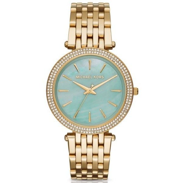 Pre-owned Michael Kors Darci MK3498 Gold-Tone Stainless Steel Aqua... ($159) ❤ liked on Polyvore featuring jewelry, watches, michael kors watches, gold-tone watches, michael kors, aqua blue jewelry and preowned jewelry