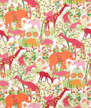Duralee Jungle Boogie Bubblegum Fabric - for a girl's nursery? I would die.