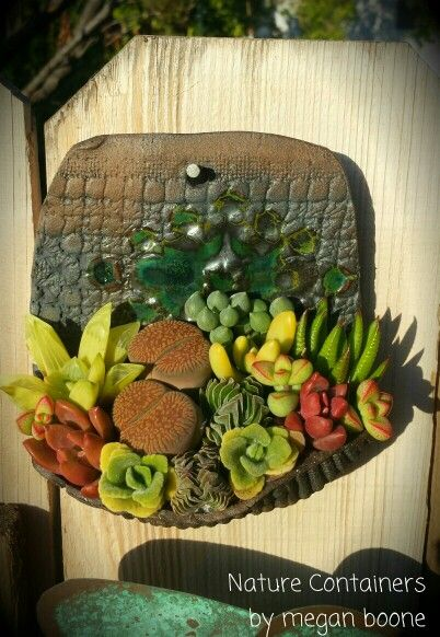 Hanging succulent container designed by Nature Containers * Pottery by Melted-Bottle.com