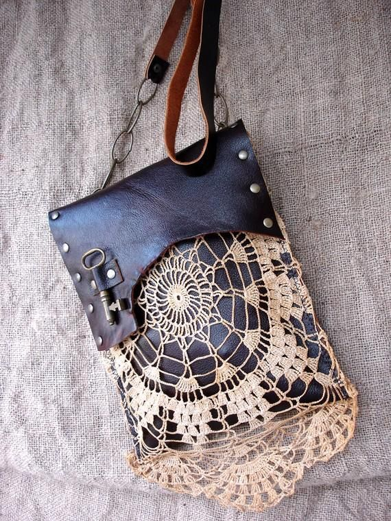 Boho Leather Festival Bag with Crochet Lace Doily and Antique Key - MADE TO ORDER - One Of A Kind from urbanheirlooms on Etsy. #tote #bag #crochet #leather.