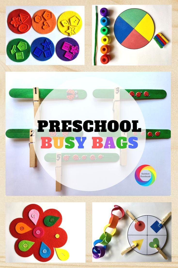 Preschool Busy Bags- Preschool Activities - Preschool Games - Busy Bags for Preschool - Montessori Preschool - www.rainbowhandmade.com
