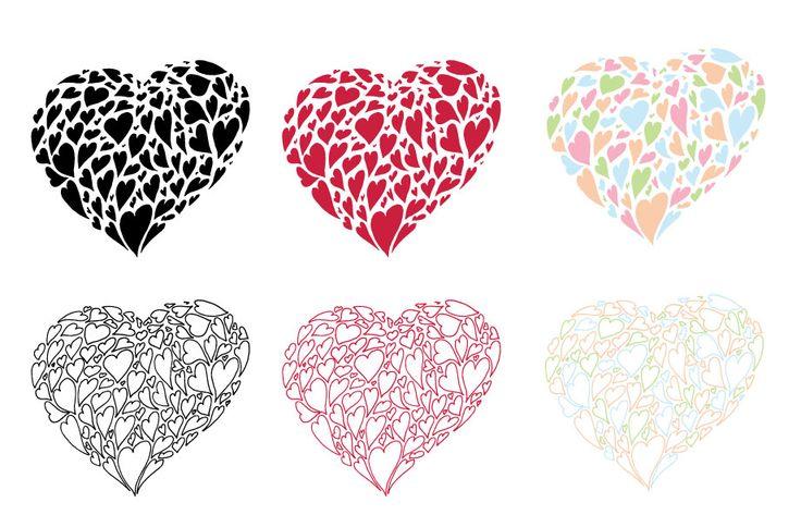 Heart of hearts hand drawn vector