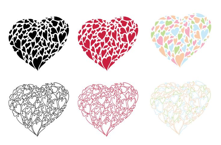 Heart of hearts hand drawn vector