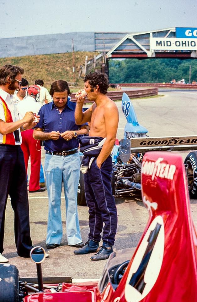 Brian Redman, Carl Haas 1975 Mid Ohio F-5000 Lola T-332 and EAGLE in the background