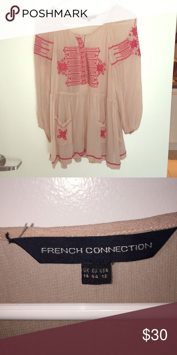 French Connection Blouse Nude and pink Aztec print blouse. Wears as medium to large French Connection Tops Blouses