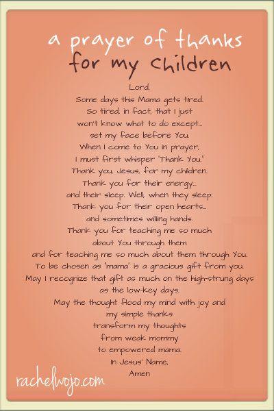 Prayer of thanks for my children.