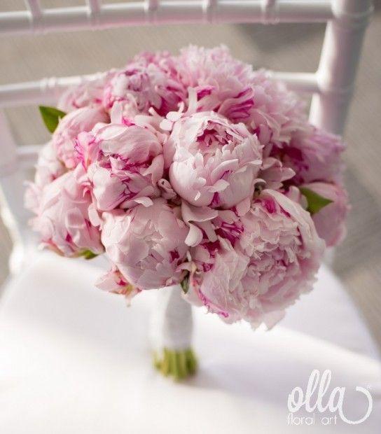 Buchet mireasa bujori roz Sarah Bernhardt