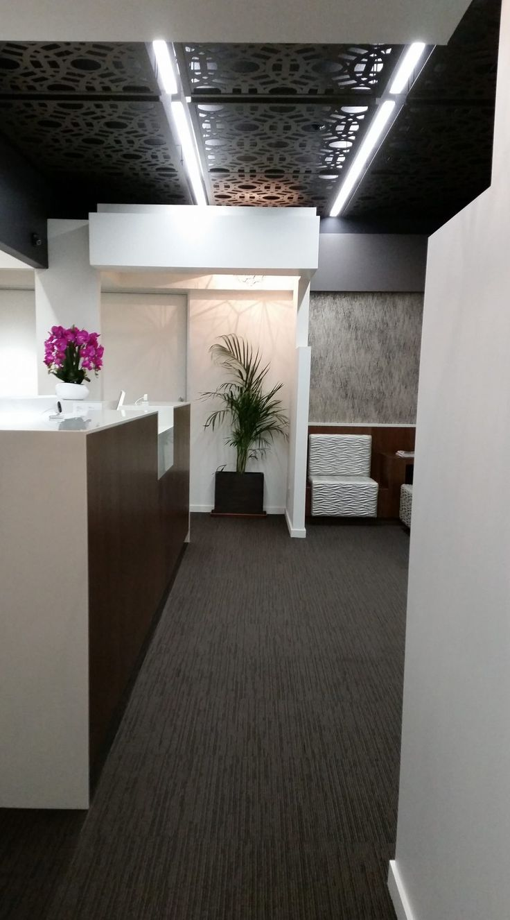 Reception desk and entry portals to clinical areas