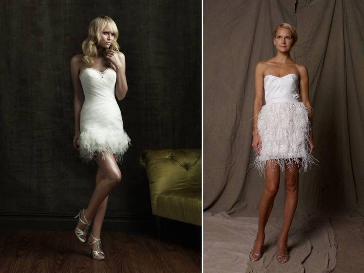 Best 25 bridal wardrobe change images on pinterest for Short feather wedding dress