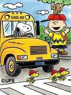 Snoopy Driving School Bus With Charlie Brown Waiting Beside Door and Woodstock and Friends Crossing in Crosswalk