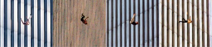"""On September 11, Richard Drew was also covering the Fall Fashion Week. He rushed to the site, where he captured the dramatic pictures of the people jumping out of the towers. In most American newspapers, his photos ran once and were never seen again; the memories of """"jumpers"""" were so heartrending, their plunges so traumatic and their suicides so stigmatic that officially and journalistically, they ceased to exist."""