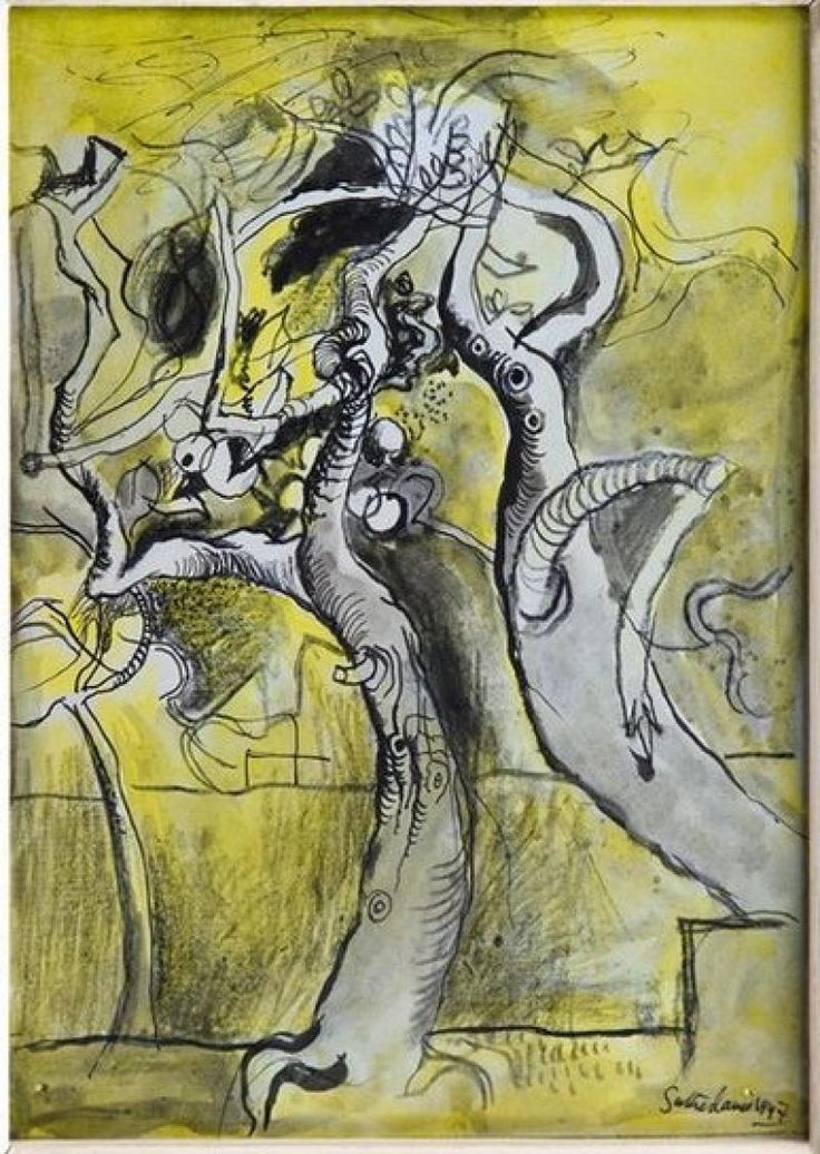 Sutherland's 'Two Trees', 1947, shows the spiky embrace of two twisting and extruded trees