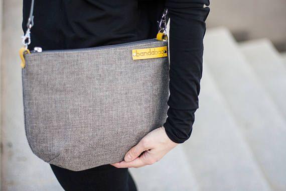 Grey messenger bag crossbody bag with genuine leather