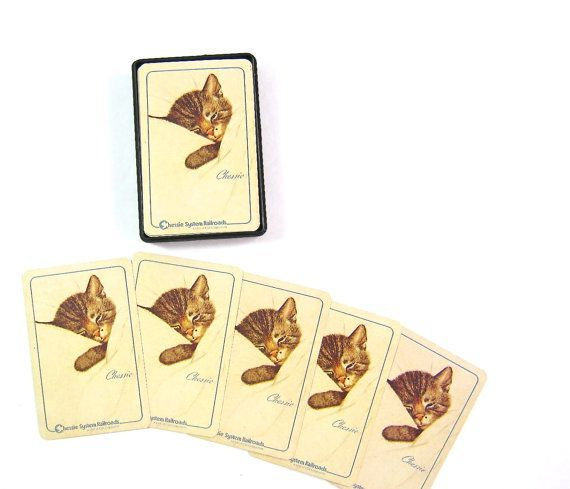 """playing cards with pictures of cats on 