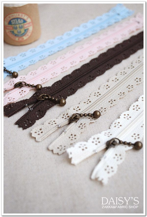 Lace Short Zippers Scallop Lace Clothes Purse Bags Make your own add lace on top of regular zipper