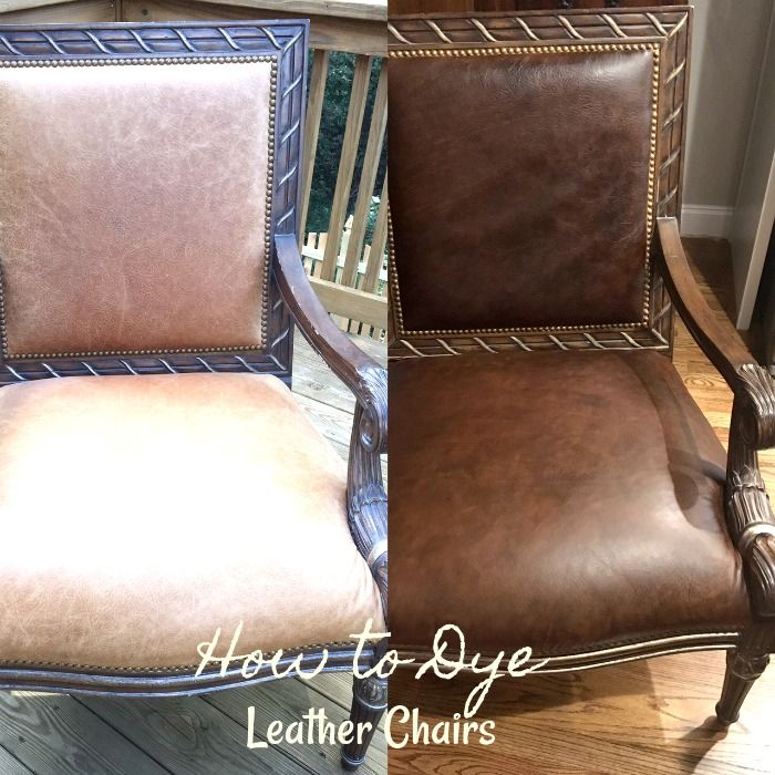 How to dye leather chairs in 3 easy steps!  Great for changing colors or touching up leather that is worn and faded.