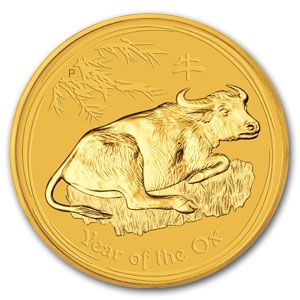 The 2009 Gold Lunar Year of the Ox features an ox lying on grass with bamboo branches above. The Ian Rank- Broadley effigy of Her Majesty Queen Elizabeth II and the monetary denomination are shown on the obverse.