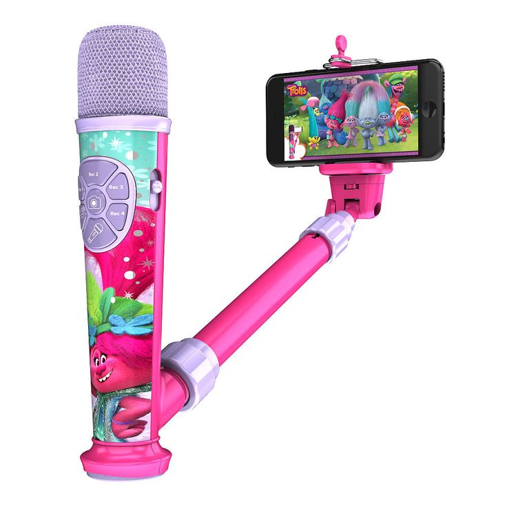 Create the ultimate music video with this Selfie Star Video Recording Microphone! Connect your MP3 player or other audio device to record up to 4 songs at a time, then use the included App and Selfie Stick to make videos as you rock out with your friends!<br><br>The Dreamworks Trolls Selfie Star Video Recording Microphone Features:<br><ul><li>Includes the built-in song 'Get Back Up Again'</li><br><li>Record your voice while you sing...