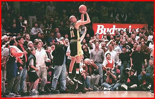 This Day In NBA History: 1995 - Reggie Miller scored eight points in the 8.9 seconds to stun the Madison Square Garden crowd as the Indiana Pacers defeated the New York Knicks 107-105 in Game 1 of their Eastern Conference Semifinals series. The Pacers went on to win the series in seven games.  keepinitrealsports.tumblr.com  keepinitrealsports.wordpress.com