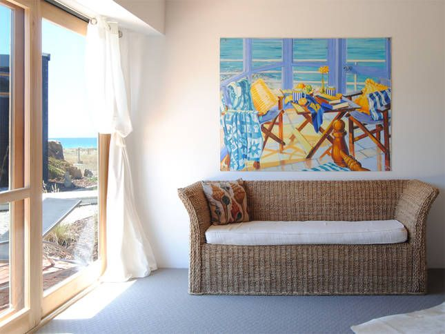 The view from Bedroom 3, Courtyard Wing (with painting by Kerri Kennewell) | Malibu on the Beach - oceanfront retreat in Four Mile Creek, Tasmania