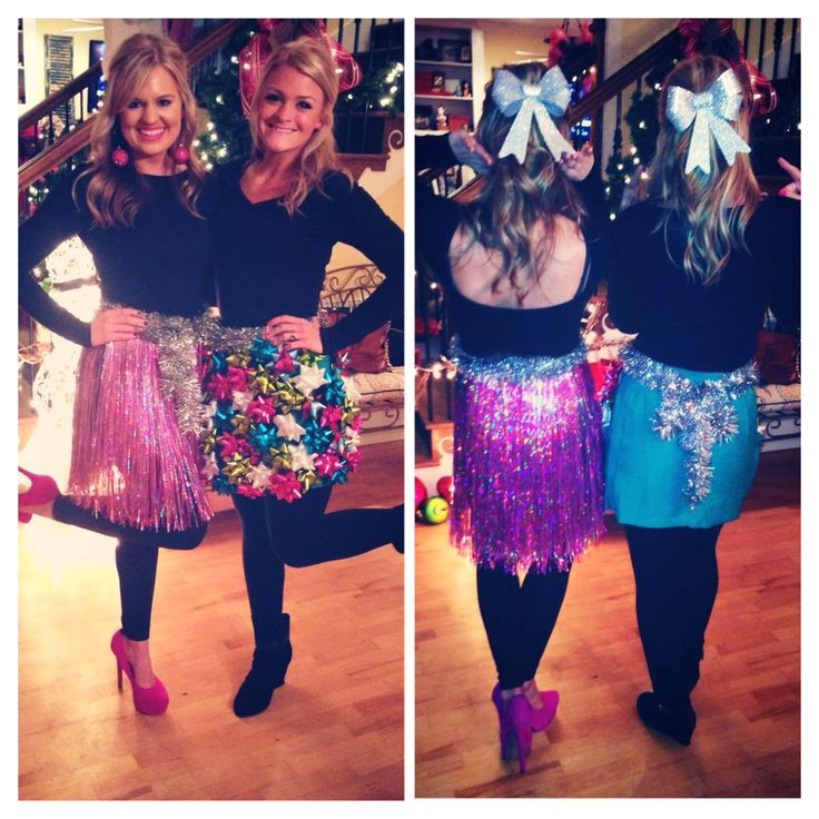DIY Tacky Christmas party bow skirt and tinsel skirt