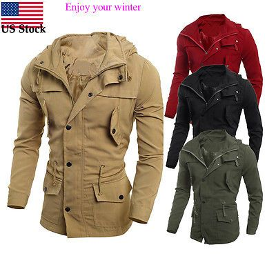 Men Coats And Jackets: Fashion Mens Military Casual Jacket Warm Winter Coat Slim Fit Outwear Overcoat -> BUY IT NOW ONLY: $30.69 on eBay!