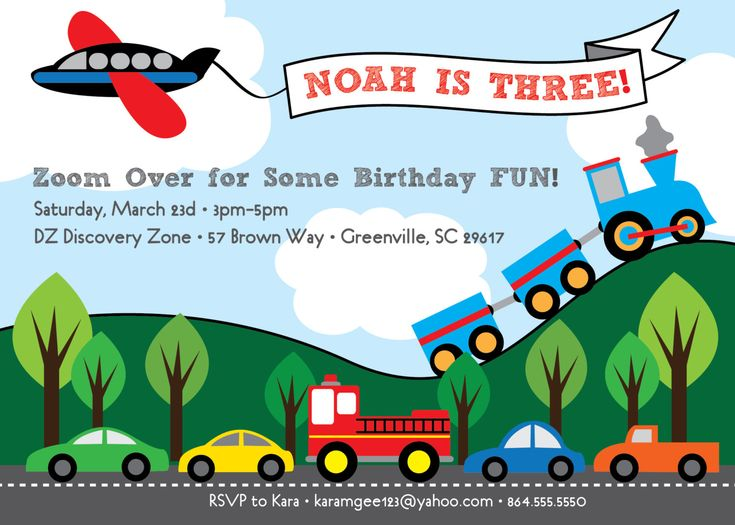 Transportation Birthday Invitation, Train, Plane, Automobiles, Cars, Firetruck, Airplane, Printable DIY Digital File by OhCreativeOne!
