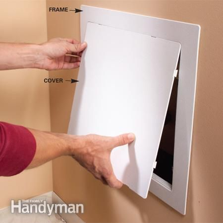 Attach an access panel over the shower faucet installation area. Shower Faucet Installation: http://www.familyhandyman.com/bathroom/shower-installation/shower-faucet-installation/view-all